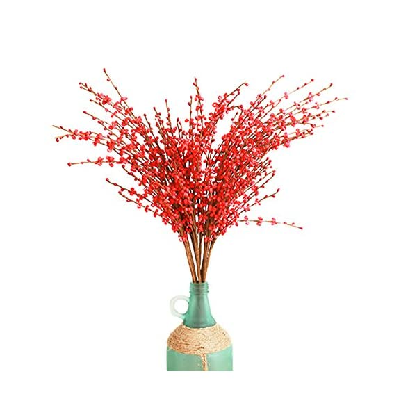 10 Pieces Winter Jasmine PE material Artificial Flower DIY Bouquet Fake Flower for Home/Wedding Decorations 30″ Long (red)
