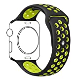 Apple Watch Band, Ocydar Soft Silicone Nike+ Sport Style Replacement iWatch Strap Band for Apple Watch Series 1 Series 2, Apple Watch Nike+, M/L Size - 42MM Black / Volt Yellow
