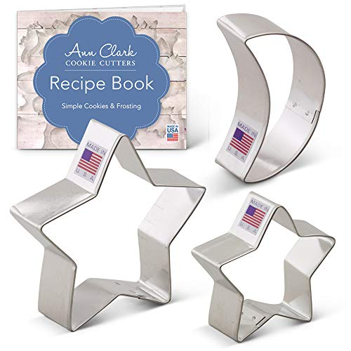 Ann Clark Cookie Cutters 3-Piece Celestial Cookie Cutter Set with Recipe Booklet, Crescent Moon and Stars (Moon Star Cookie Cutter Sun)