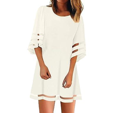 1ab6358a599 Allegorly Robe Été Femme 3 4 Manche Longue Mousseline Chic Tunique Blouse  Chemise Robe Midi