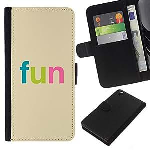 Stuss Case / Funda Carcasa PU de Cuero - Fun - Colorful Typography - HTC DESIRE 816