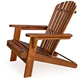 Garden lounger Adirondack Sun Deckchair - Acacia Hard Wood Patio Sun-chair Terrace Recliner