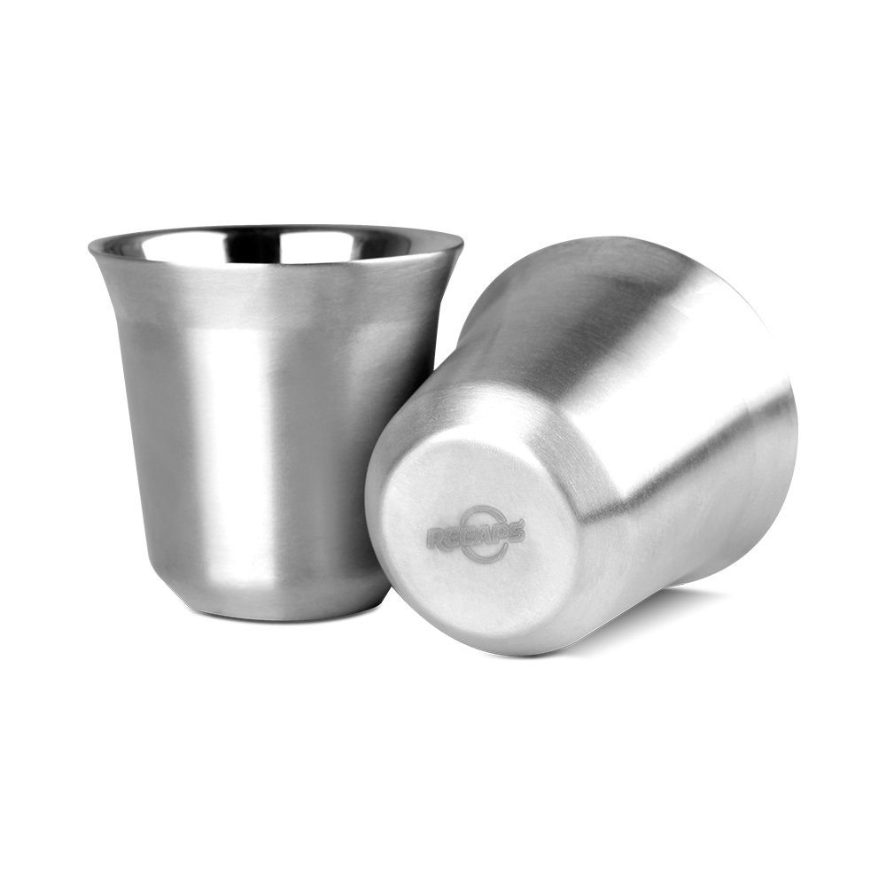 80ml Stainless Steel Espresso Cups Set - 2 Pack Double Wall 304 Stainless Steel Demitasse Cups FDA Approved 2.7oz By RECAPS