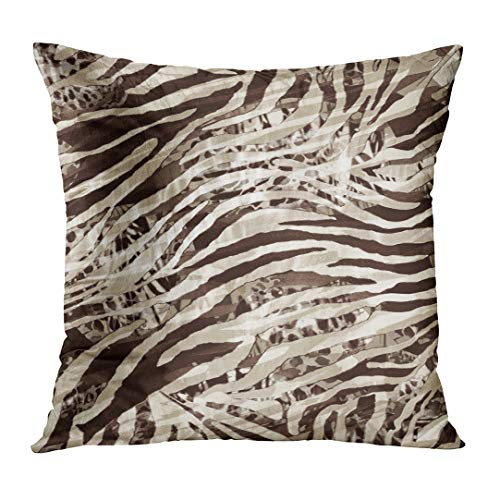 LOULNN Throw Pillow Cover Brown Animal of Striped Leopard for Zebra Pattern Fills Decoupage Arabic Beauty Decorative Pillow Case Home Decor Square 18x18 Inches Pillowcase