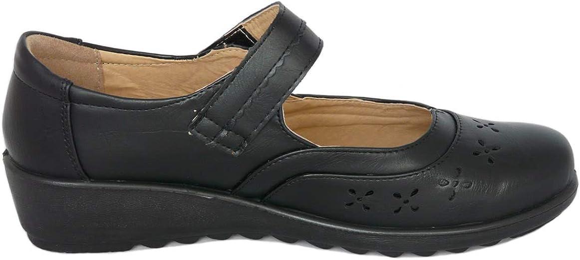 Cushion Walk Chaussures Mary Jane de Femme Noir en Similicuir L/éger Chaussures de Confort au Travail au Bureau