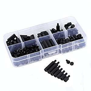 Proimb 180pcs M3 Nylon Hex Nuts Screws Spacers Stand-off Plastic Accessories Assortment Black