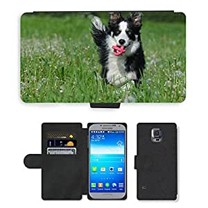 CARD POCKET BOOK CASE PU LEATHER CASE // M00147440 Flower Meadow border collie // Samsung Galaxy S5 S V SV i9600 (Not Fits S5 ACTIVE)