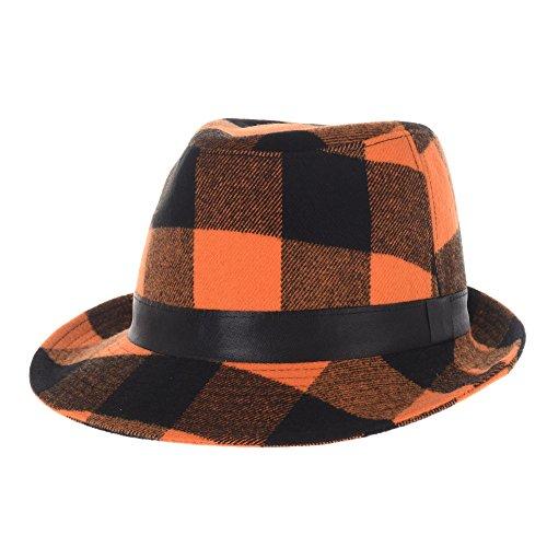 WITHMOONS Wool Fedora Hat Glen Tartan Plaid Check Pttern DW6488 (Orange)