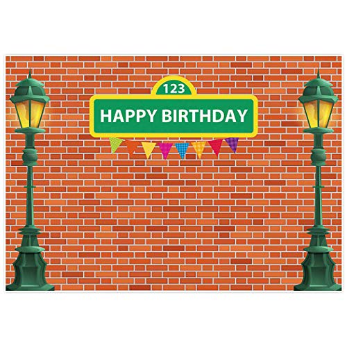 Allenjoy 7'x5' Brick Wall Street Backdrop High Cartoon Photography Backdrops First 1st Girl Boy Birthday Party Background Party Decors Decorations Baby Shower Photo Shoot Booth