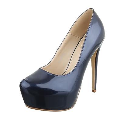 5a313498dbd834 Ital-Design High Heel Damen-Schuhe Pfennig- Stilettoabsatz High Heels Pumps  Dunkelblau