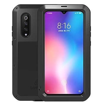 LOVE MEI - Funda Compatible con Xiaomi Mi 9 Metal [Aluminio] y Silicona Antigolpes [Ultra Resistente] Antichoque Protector de Pantalla [Cristal Gorila ...