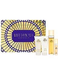 White Diamonds by Elizabeth Taylor for Women - 4 Pc Gift Set 3.3oz EDT Spray, 3.3oz Gentle Moisturizing Body Wash, 3.3oz Perfumed Body Lotion, 10ml EDT Spray