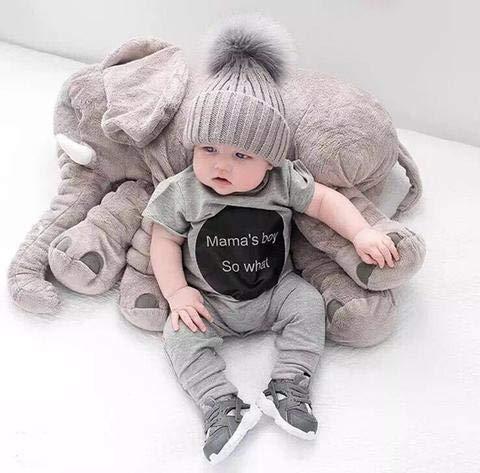 ECEJIX Stuffed Elephant Animal Plush Toy ,Girls, Boys, Room Decor,Emoji - Grey- Measures 24 Inches