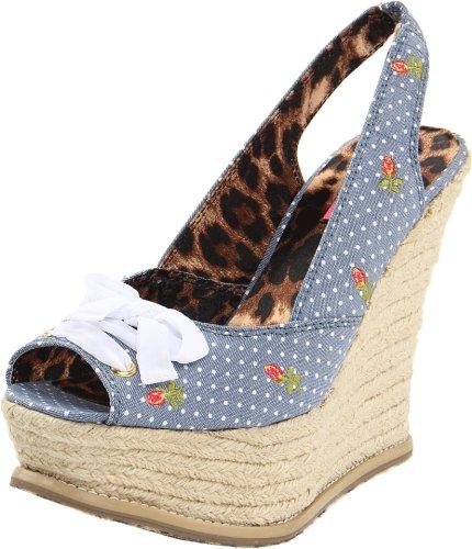 Betsey Johnson Ffab Damen Blau Stoff Keil Sandalen Schuhe Gre Neu EU 38,5
