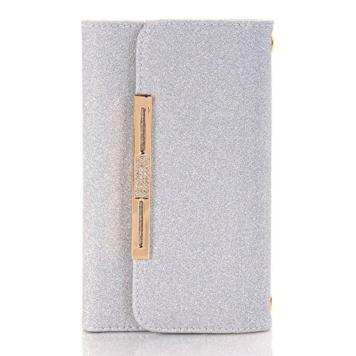 Apple iPhone 6 Case Wallet Cover,MEILIIO Luxury Glitter Powder Bling PU Leather Flip Zipper Wallet Cover Cards Slots Lady Multi Envelope Wristlet HandBag for Apple iPhone 6,iPhone 6S 4.7 inch (Grey) by MeiLiio (Image #7)