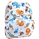 "Kawaii Baby One Size Organic Bamboo Terry Cloth Diaper with 2 Bamboo Inserts ""Zoo Animals"""