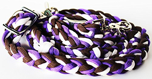 PRORIDER Roping Knotted Horse Western Barrel Reins Nylon Braided Rein Purple Brown 60771