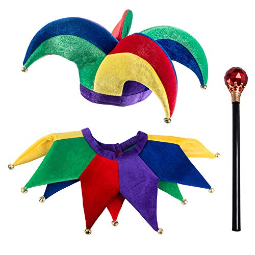 Tigerdoe Jester Costume - Hat and Collar and Wand - Jester Clown Costume - King's Jester - 3 Pc Set Blue