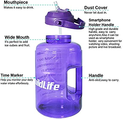 QuiFit 1 Gallon Purple, 1 gallon Water Bottle with Straw and Time Marker BPA Free Reusable Large Sport Water Jug with Handle,for Fitness and Outdoor Enthusiasts 128 oz
