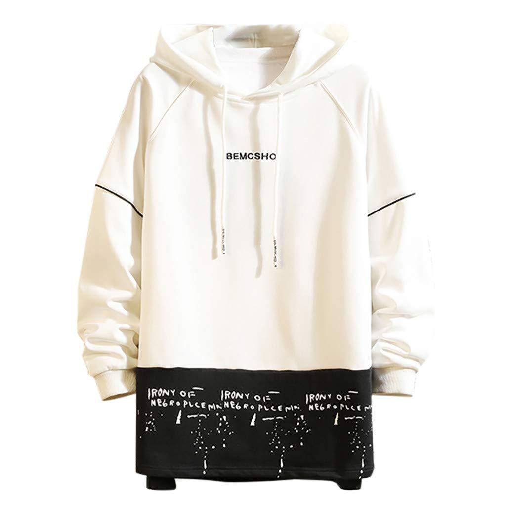 Fitfulvan Men's Printed Patchwork Hoodie Long Sleeve Sweatshirt Casual Loose Tops White
