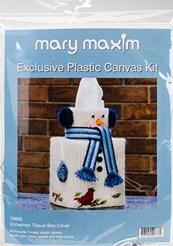 Mary Maxim Snowman Plastic Canvas Tissue Box Kit, 5