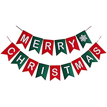 amazon com merry christmas banner christmas party garland bunting rh amazon com Winter Holiday Clip Art Banners Funny Holiday Banner