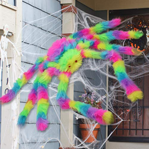 LETIN Halloween Decoration White Spider Web,Fake Spooky Spider Webbing Cobweb for Halloween Indoor Outdoor Home Decorations Props (60cm/Colourful)]()