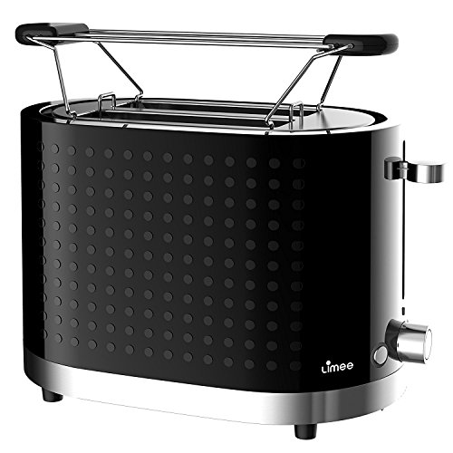 Limee 1000W 2 Slice Gloss Wide Slot Toaster with S/S Bun warmer Slide Out Crumb Tray (Black)