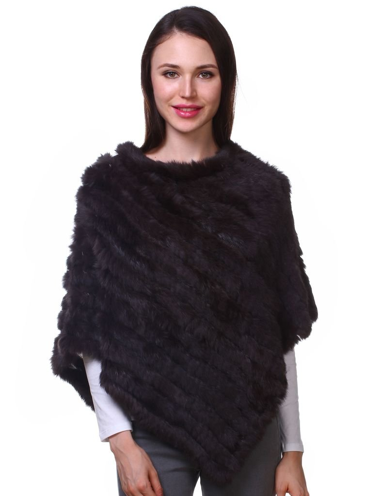 Ferand Ladies Genuine Knitted Rabbit Fur Poncho Cape Shawl for Women One size Beige