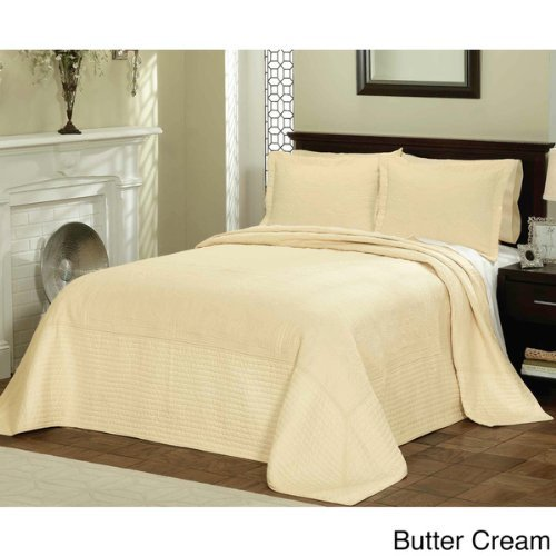 1 Piece 120 x 118 Parisian French Tile Oversized Butter Cream King Bedspread To The Floor, Extra Long Floral Bedding Xtra Wide Hangs Over Edge Bed Frame, Drapes Drops Down Sides, Cotton Polyester by D&H