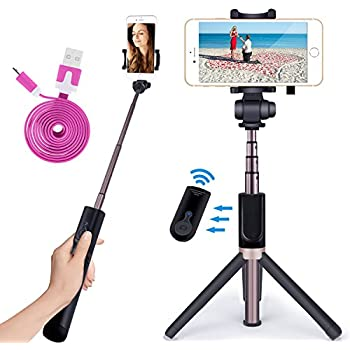NOVASAT Selfie Stick Bluetooth Monopod with Foldable Tripod Stand and Remote Control Extendable Aluminum Alloy 360 Rotation Phone Holder for iPhone 6s Plus 7 Plus Samsung s7 Edge
