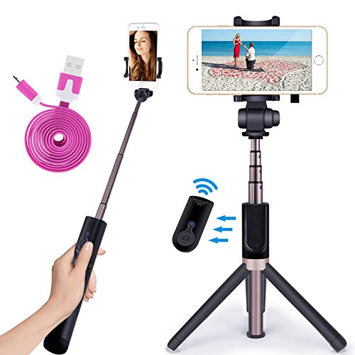 Apexel 2-in-1 Extendable Bluetooth Selfie Stick Monopod Tripod Stand with Wireless Remote Shutter for iPhone Xs/XS Max/XR/X/8/8 Plus/7/7 Plus/6s/6 Plus,...