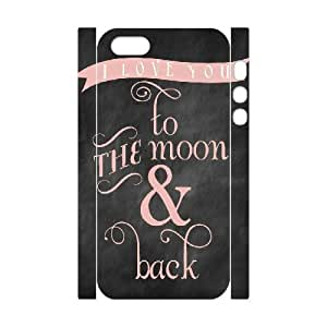 3D [Generic Love Quote] i Love You to the Moon and Back in PINK Chalkboard Printable Case for IPhone 5,5S, IPhone 5,5S Case Protective Protector for Girls {White} by ruishername