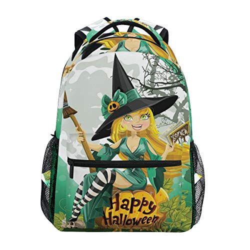 CANCAKA Cheerful Smiling Girl Halloween Costume On Pumpkin Giant Moon Woodland Lightweight School Backpack Students College Bag Travel Hiking Camping Bags