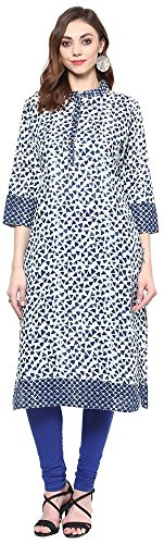 RISHABH-Womens-Cotton-Regular-Fit-Kurta-Large-Blue