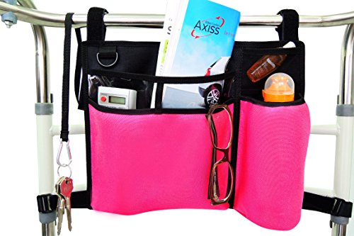 Folding Walker Bag, Wheelchair Side Pouch, Rollator Pouch,Bed Rail Organizer, Insulated Bottle Holder, Zipper Pocket, Key Holder Long Strap, Black/pink (Side Walker Pouch)