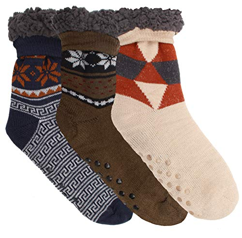 Winter-Weight Thermal Fleece-Lined Cozy Christmas Holiday Sherpa Lined Slipper Socks, 3 Pair Pack (Men Size 10-13-ST2) (Men Socks Sherpa)