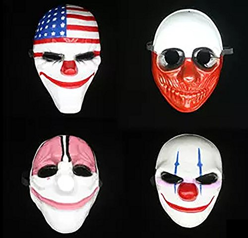 Payday 2 Chains Costume (4pc Halloween Plastic Mask for Party Gift Decoration Cosplay Costume Props)