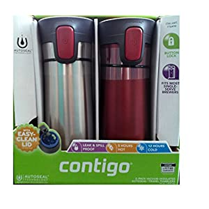 2 pk Contigo Pinnacle Thermal 14 oz Travel Mug Leak Spill Proof with Vacuum Insulated Body (Red)