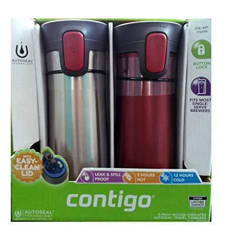 2 pk Contigo Pinnacle Thermal 14 oz Travel Mug Leak Spill Proof with Vacuum Insulated Body (Red) (14 Oz Auto Mug)
