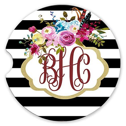 (Sandstone Car Coasters Personalized Monogram Gold Frame Black and White Stripe Boho Floral Set of 2 )