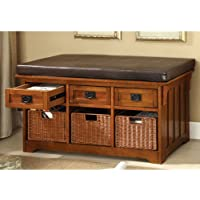 247SHOPATHOME Idf-BN6305 Storage-Benches, Oak
