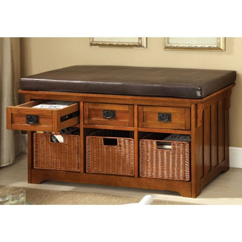 Hobart Mission Style Antique Oak Finish 42 Inches Storage Bench
