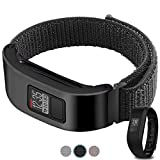 C2D JOY Compatible with Garmin vivofit 3 and vivofit Jr. Metal case with Replacement Bands, Sport Mesh Band for Sports wear Soft, Breathable Nylon Weave - Dark Black, Small