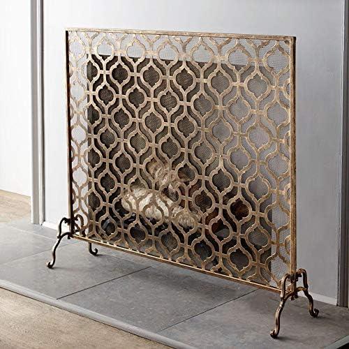 暖炉スクリーン MYL 暖炉/フロントポーチ/クリスマスギフト、単一のパネル暖炉スクリーン赤ちゃん/ペット安全なスパークガードのためのヴィンテージラージゴールドファイアースクリーン (Color : Gold, Size : 93×20×76cm)