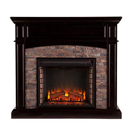 Media Ebony - Southern Enterprises AZ9539EF Grantham Faux Stone Corner Electric Media Fireplace, Ebony Finish