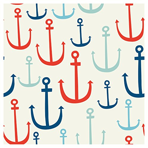 Creative Converting Elise 24 Count 3 Ply Seafarer Anchors Beverage Napkins, Red/Blue
