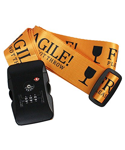 Fragile Tsa Approved 3 Dial Combination Lock Luggage Strap