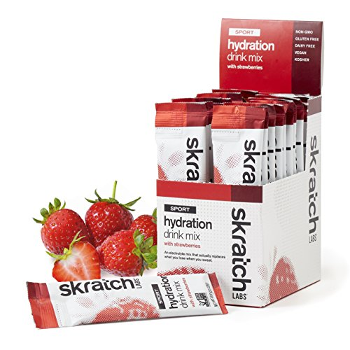 SKRATCH LABS, Sport Hydration Drink Mix with Strawberries, 20 pack box (non-GMO, dairy free, gluten free, kosher, vegan)
