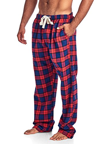 Plaid Flannel Lounger (Ashford & Brooks Mens Super Soft Flannel Plaid Pajama Sleep Pants - Red Black - Medium)